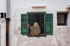Malacca, Malaysia - March 01, 2019: Wall art in the old city of Malacca. stock photos