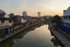 MALACCA MALAYSIA - mars 23: Melaka flod i Malaysia Malacca har listats som en UNESCOvärldsarv efter 7 Juli 2008 Royaltyfria Bilder