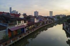 MALACCA MALAYSIA - mars 23: Melaka flod i Malaysia Malacca har listats som en UNESCOvärldsarv efter 7 Juli 2008 Arkivfoto