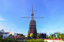 MALACCA MALAYSIA - Oktober 13: Malacca maritimt museum på Malacca c arkivbild