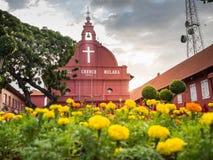 MALACCA, MALEISIË - 29 FEBRUARI: De Kerk van Malacca Christus in Nederlandse Squar Stock Afbeelding