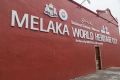 Malacca, Malezja - około Wrzesień 2015: Melaka światowego dziedzictwa miasta znak, Malacca, Malezja Obraz Royalty Free