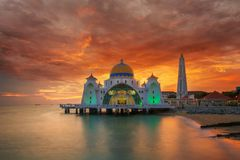 Malacca mosque. On the beach in melaka city with sunset in malaysia Royalty Free Stock Photography