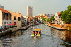 Malacca River. Melaka River is a river which flows through the middle Malacca Town in the Malaysian state of Malacca. It was once an important trade route during royalty free stock image