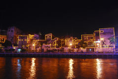 Malacca river. A view on a river in melaka city at night Stock Images