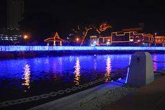 Malacca river. A view on a river in melaka city at night Stock Photo