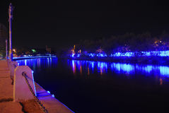 Malacca river. A view on a river in melaka city at night Stock Image