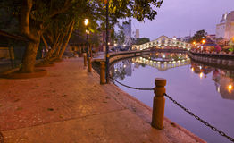 Malacca river at dawn Stock Photo