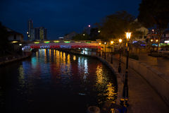 Malacca river embankment at night Stock Image