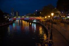 Malacca river embankment at night Stock Image