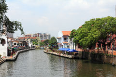 Malacca river at kampang jawa Royalty Free Stock Images