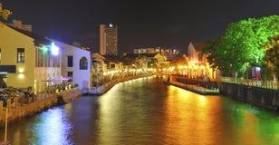Malacca River at night. A long exposure shot of the Malacca River at night showing some of the colonial houses along its banks royalty free stock photography