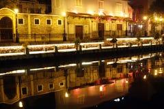 Malacca River at night Royalty Free Stock Photos