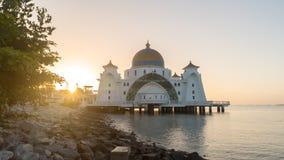 Malacca Straits Floating Mosque During Sunrise Stock Images