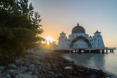 Malacca Straits Floating Mosque During Sunrise Royalty Free Stock Photo