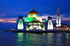 Malacca Straits Mosque. At Malacca island,Malaysia royalty free stock photo