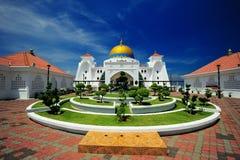 Malacca Straits Mosque. The Malacca Straits Mosque (Malay: Masjid Selat Melaka) is a mosque located on the man-made Malacca Island near Malacca Town in Malacca stock photo