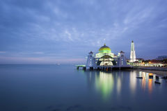 Malacca Straits Mosque at Evening Blue Hour Stock Images