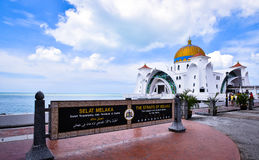 Malacca Straits Mosque. The Malacca Straits Mosque is the first mosque located on the man-made Malacca Island near Malacca City in Malacca state Malaysia. The Stock Photography