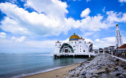 Malacca Straits Mosque. The Malacca Straits Mosque is the first mosque located on the man-made Malacca Island near Malacca City in Malacca state Malaysia. The Stock Images