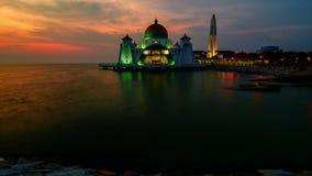 Malacca Straits Mosque 4k Timelapse (Masjid Selat Melaka) stock footage