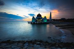Malacca straits mosque stock photography