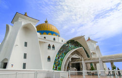 Malacca Straits Mosque. Malacca,Malaysia - June 15, 2014 : Malacca Straits Mosque is also known as Malacca's floating mosque as it is built on stilts above the royalty free stock photography