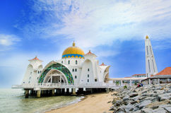 Malacca Straits Mosque. Malacca,Malaysia - June 15, 2014 : Malacca Straits Mosque is also known as Malacca's floating mosque as it is built on stilts above the royalty free stock images