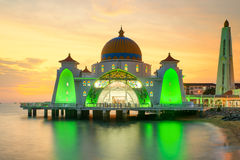 Malacca Straits Mosque, Malaysia at sunset.  Royalty Free Stock Photos
