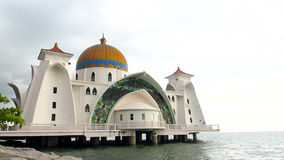 Malacca Straits Mosque stock video footage