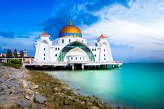 Malacca straits mosque masjid Royalty Free Stock Photo