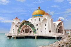 Malacca Straits Mosque. ( Masjid Selat Melaka) It is a mosque located on the man-made Malacca Island near Malacca Town. Malaysia royalty free stock photography