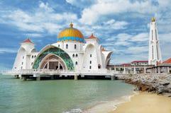 Malacca Straits Mosque. ( Masjid Selat Melaka) It is a mosque located on the man-made Malacca Island near Malacca Town. Malaysia Stock Photography