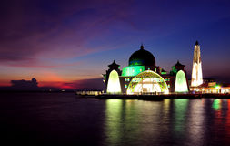 Malacca Straits Mosque (Masjid Selat Melaka) Royalty Free Stock Images