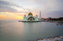 Malacca Straits Mosque (Masjid Selat Melaka) is a mosque located Stock Photo