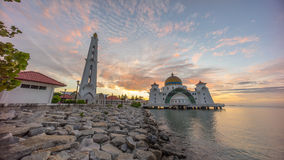 Malacca Straits Mosque during sunrise. Royalty Free Stock Images