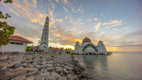 Malacca Straits Mosque during sunrise. Malacca Straits Mosque during beautiful dramatic sunrise Stock Photography