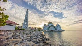 Malacca Straits Mosque during sunrise. Stock Image
