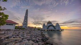 Malacca Straits Mosque during sunrise. Royalty Free Stock Image