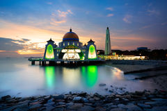 Malacca straits mosque Stock Images