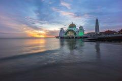 Malacca Straits Mosque. Sunset. Stock Photography