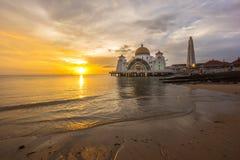 Malacca Straits Mosque. Sunset. Royalty Free Stock Photo