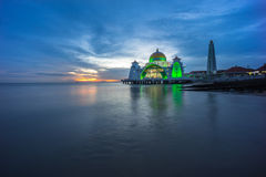 Malacca Straits Mosque. Sunset. Stock Images