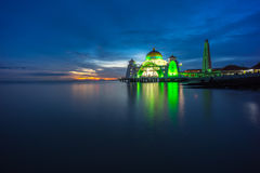 Malacca Straits Mosque. Sunset. Royalty Free Stock Photography