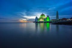 Malacca Straits Mosque. Sunset. Stock Image