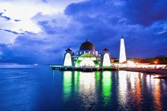 Malacca Straits Mosque during sunset. The Malacca Straits Mosque is the first mosque located on the man-made Malacca Island near Malacca City in Malacca state Royalty Free Stock Image