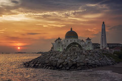 Malacca Straits Mosque at sunset Stock Photos