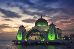 Malacca Straits Mosque at sunset Stock Image