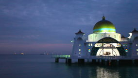 Malacca Straits Mosque with Water Reflection at Blue Hour Royalty Free Stock Photography