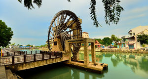 The Malacca Sultanate Watermill. (Malay: Kincir Air Kesultanan Melayu Melaka) is a watermill in Malacca City, Malacca, Malaysia located along the bank of Royalty Free Stock Photos